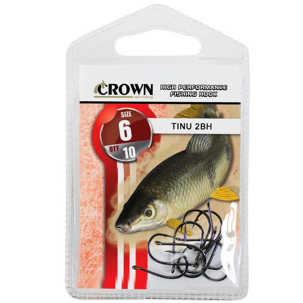 Anzol Crown Tinu para Piau ou Piapara 2-BH Black Preto Número 06 Cartela com 10 Unidades
