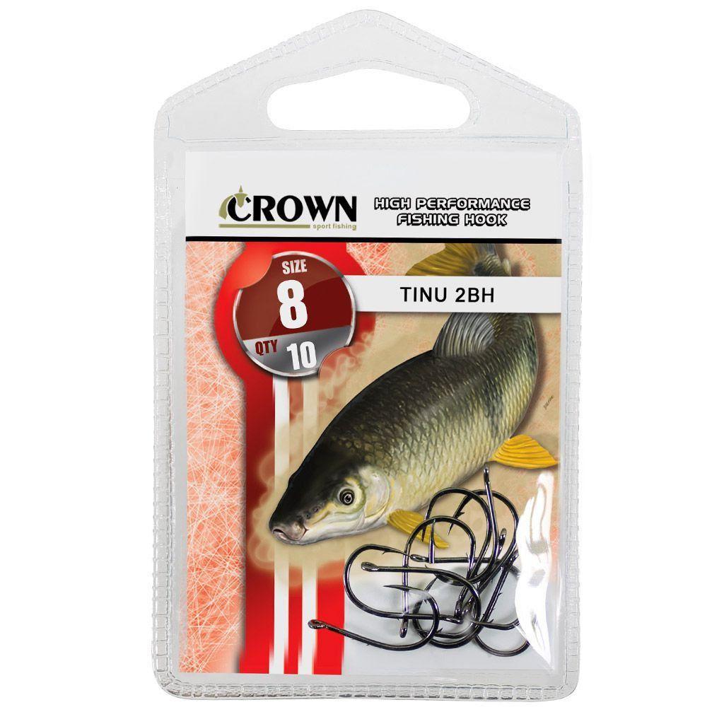 Anzol Crown Tinu para Piau ou Piapara 2-BH Black Preto Número 08 Cartela com 10 Unidades