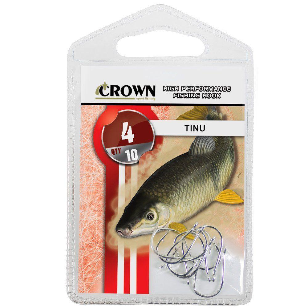 Anzol Crown Tinu para Piau ou Piapara Niquel Prata Número 04 Cartela com 10 Unidades