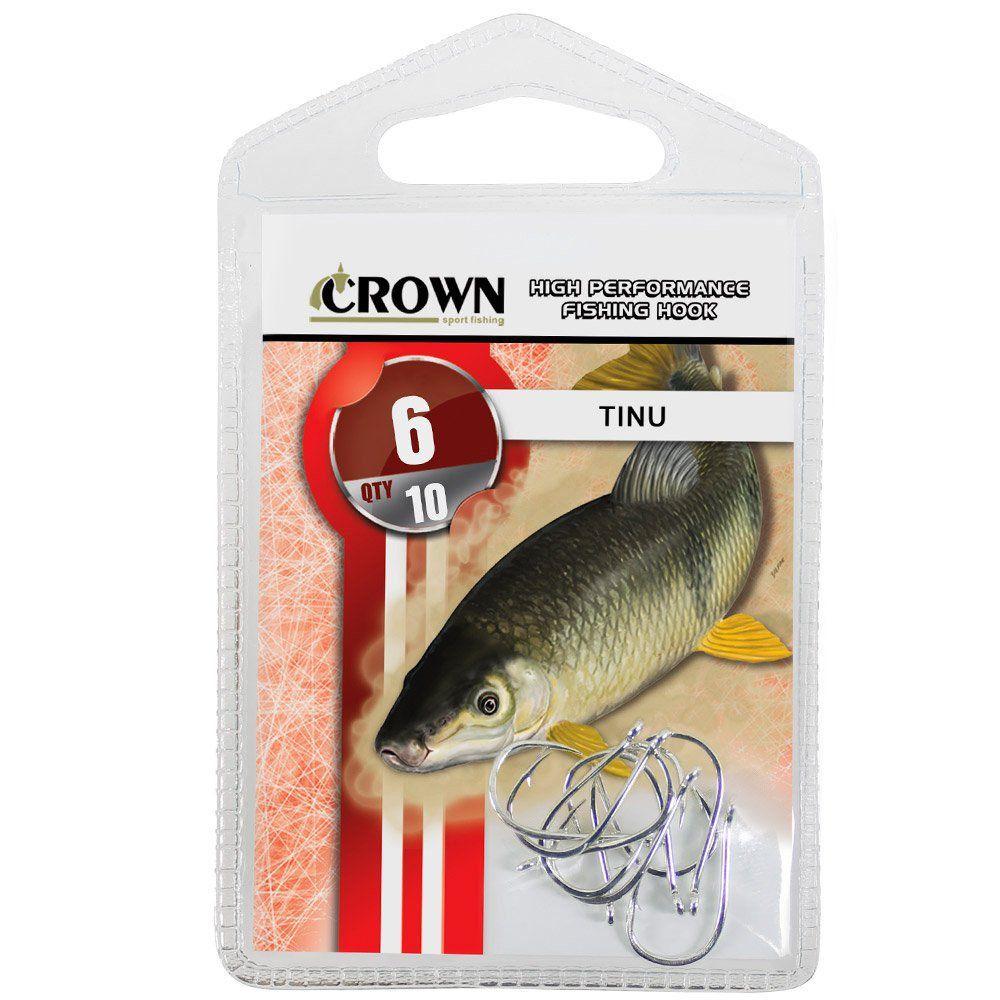 Anzol Crown Tinu para Piau ou Piapara Niquel Prata Número 06 Cartela com 10 Unidades