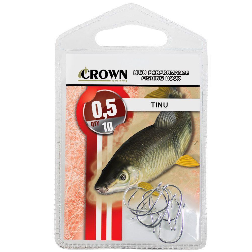 Anzol Crown Tinu para Piau ou Piapara Niquel Prata Número 0,5 Cartela com 10 Unidades