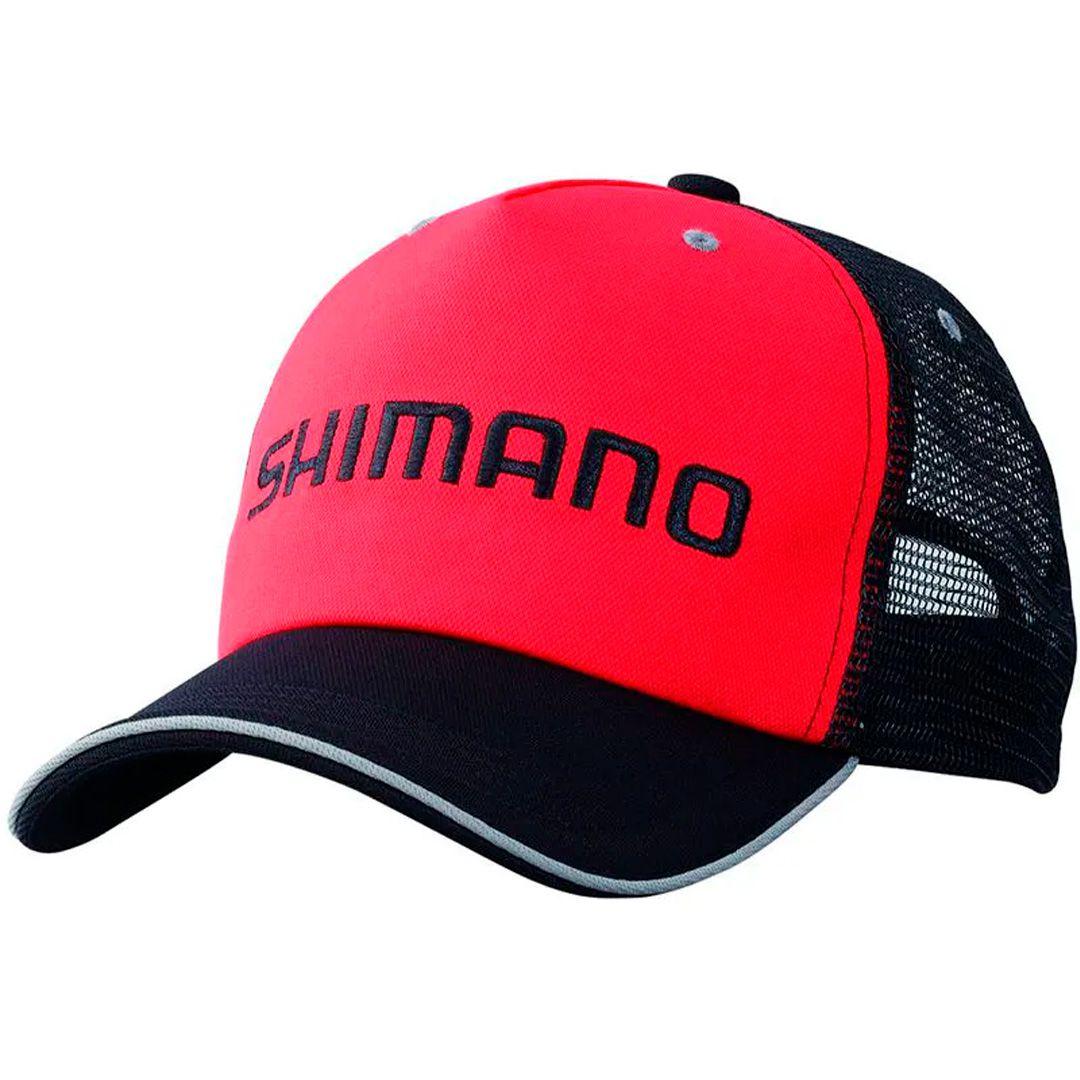 Boné de Pesca Shimano Trucker Cor Vermelho e Preto com Tela