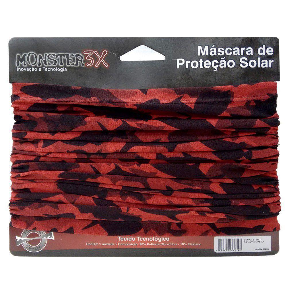 Máscara de Proteção Solar Monster 3X Cor Fishing Red com Filtro UV