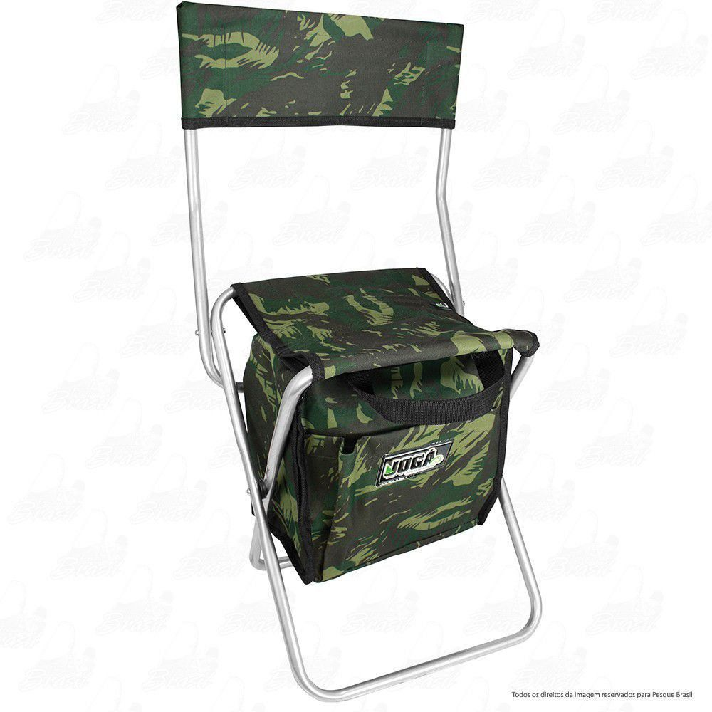 Cadeira Com Bolsa 13 L Térmica Dobrável para Pesca e Camping Jogá Cor Camuflado em Aço Suporta até 105 kg