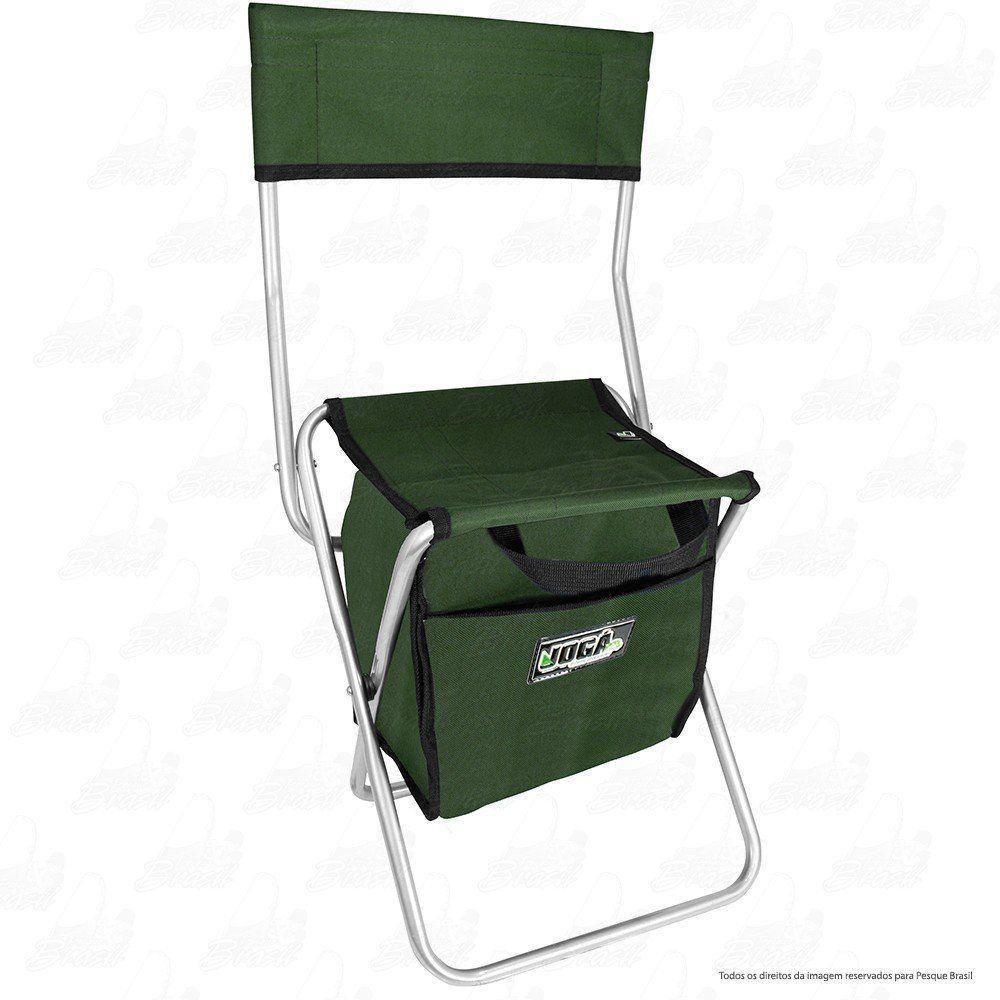 Cadeira Com Bolsa 13 L Térmica Dobrável para Pesca e Camping Jogá Cor Verde em Aço Suporta até 105 kg