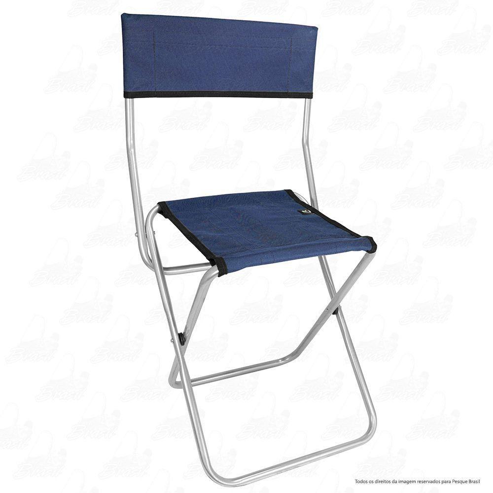 Cadeira Dobrável para Pesca e Camping Jogá Cor Azul em Aço Suporta até 105 kg
