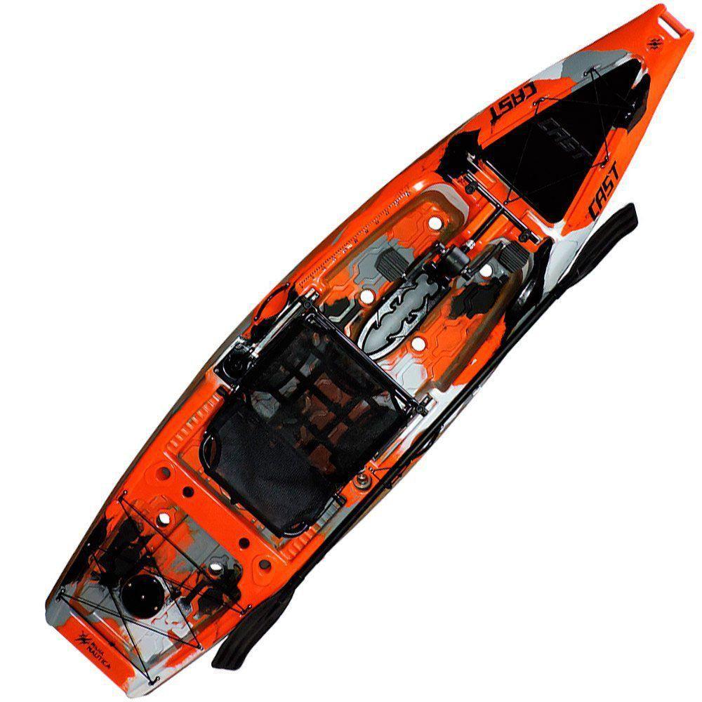Caiaque de Pesca Milha Náutica Cast com Pedal Completo com Banco e Remo