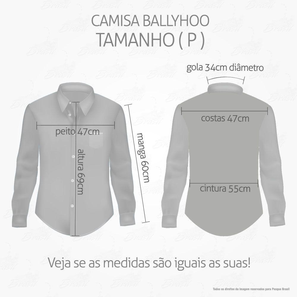 Camisa de Pesca Ballyhoo Crisis Cor Militar Camuflada Com Filtro UV Tamanho P