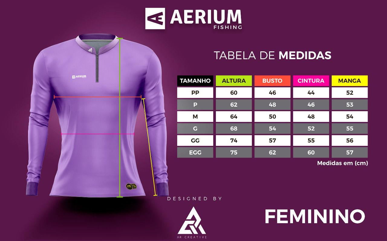 Camisa de Pesca Exclusiva Pesque Brasil Feminina PB01F com Proteção UV50+