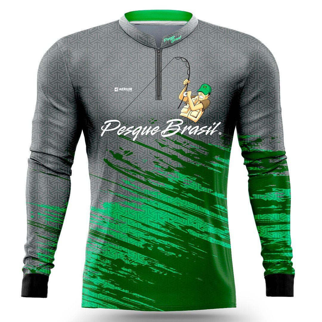 Camisa de Pesca Exclusiva Pesque Brasil Masculina PB01M com Proteção UV50+