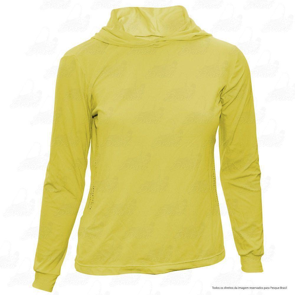 Camisa de Pesca Feminina Ballyhoo com Capuz com Proteção Solar Filtro UV Cor Amarela