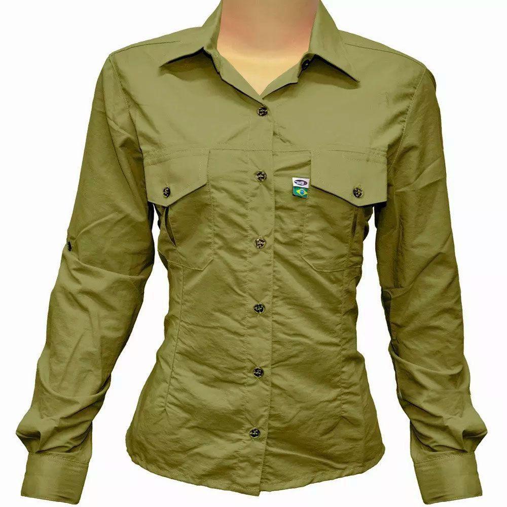 6bf0ca48c Camisa de Pesca Feminina Mtk Wind com Proteção Solar Filtro UV Cor Caqui -  PESQUE BRASIL ...