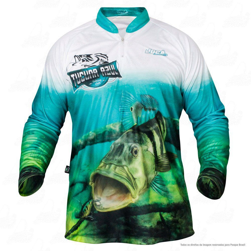 Camiseta de Pesca Jogá Tucunaré Azul Proteção UV
