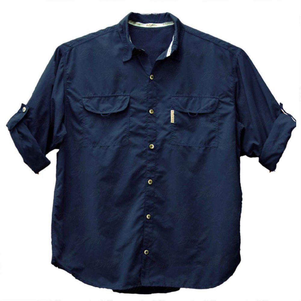 Camisa de Pesca Masculina Ballyhoo Crisis Cor Azul Marinho Com Filtro UV