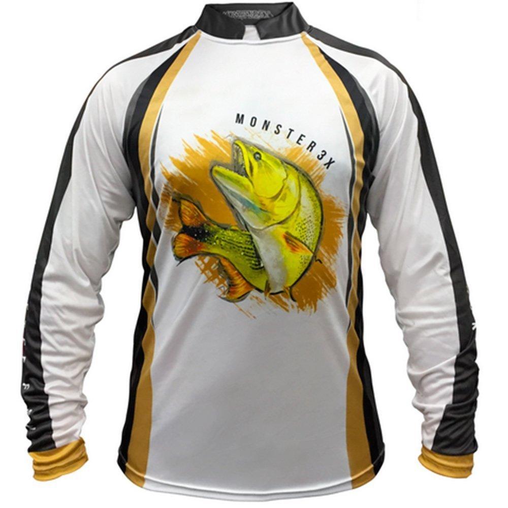 Camiseta de Pesca Monster 3X New Fish 06 Dourado com Proteção Solar UV