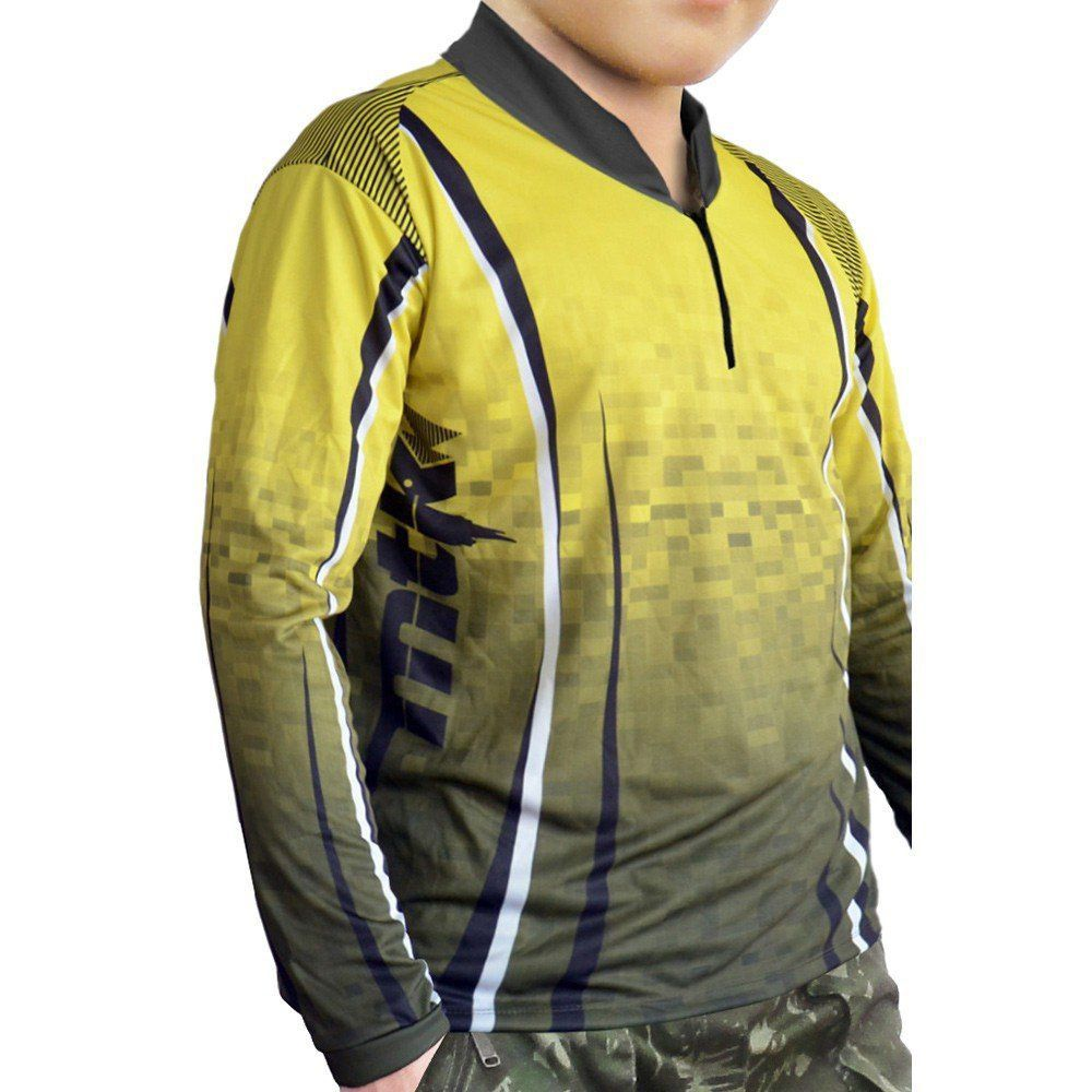 Camiseta Infantil de Pesca MTK Attack com Proteção Solar Filtro UV Cor Yellow