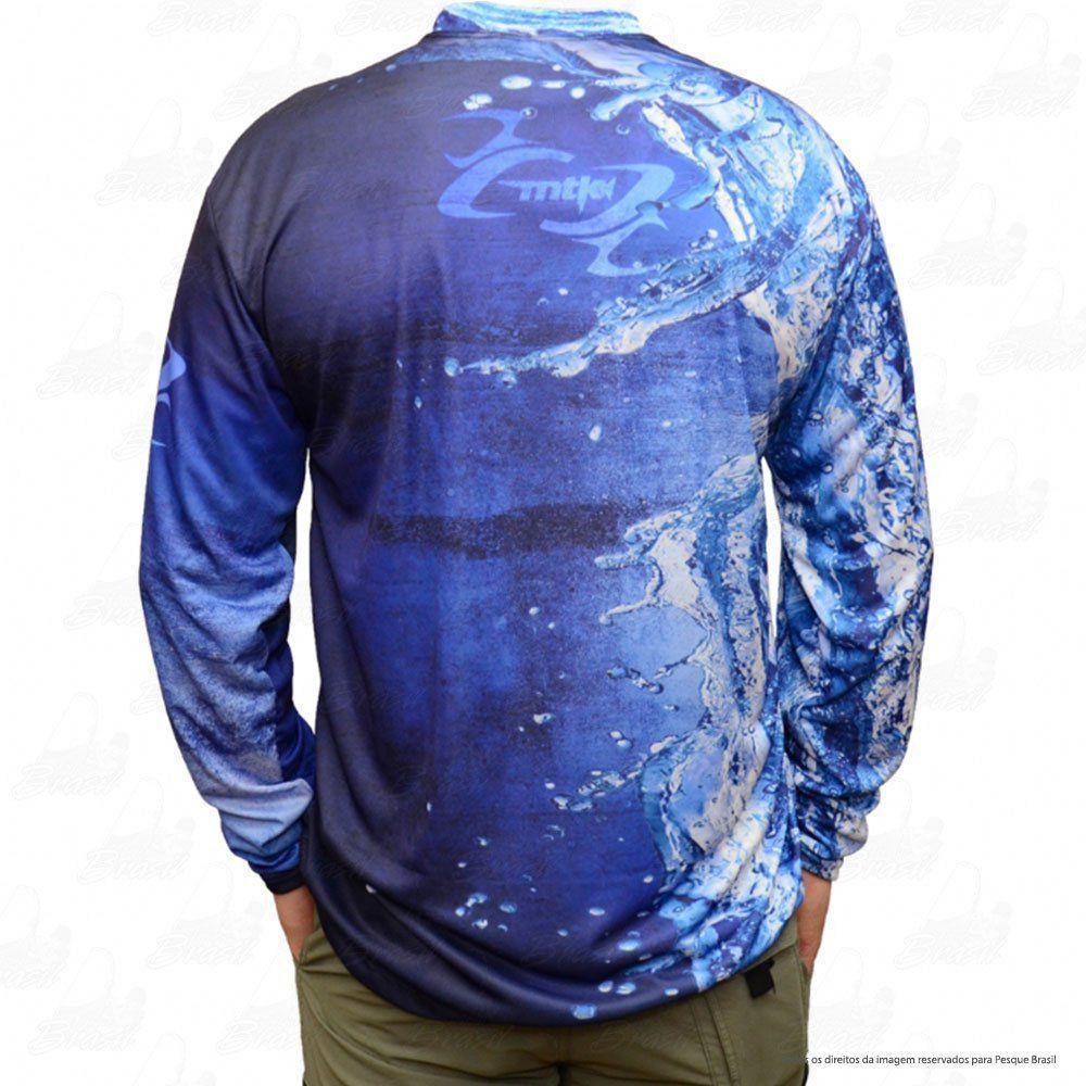 Camiseta de Pesca Mtk Attack com Proteção Solar Filtro UV Cor Azul Tucunaré