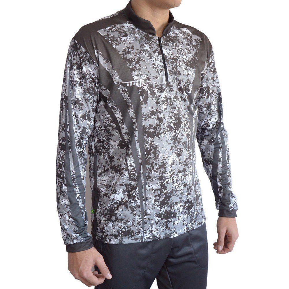 Camiseta de Pesca MTK Attack com Proteção Solar Filtro UV Cor Camuflada Cinza