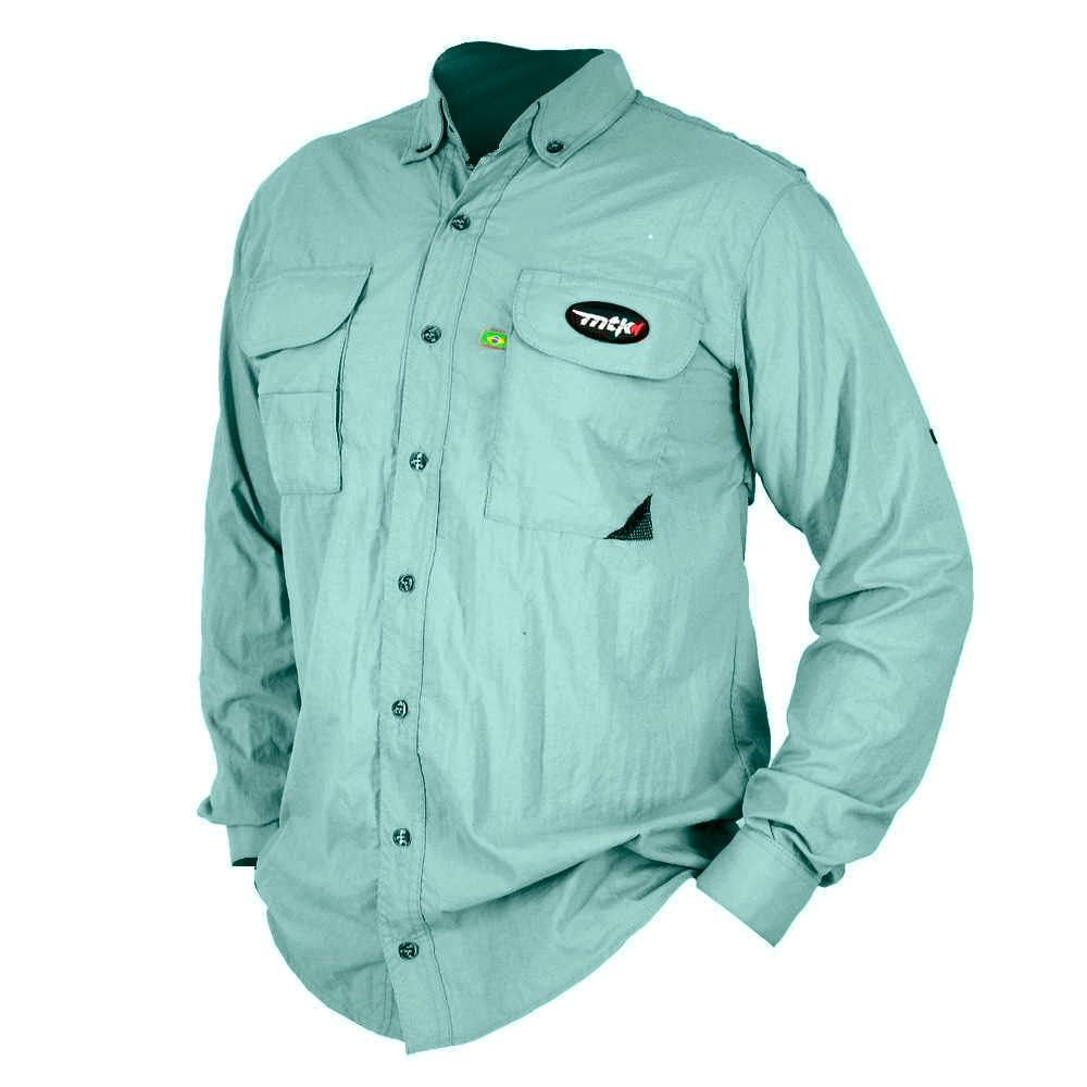 Camisa de Pesca MTK Sky com Proteção Solar e Manga Longa Cor Azul Anil