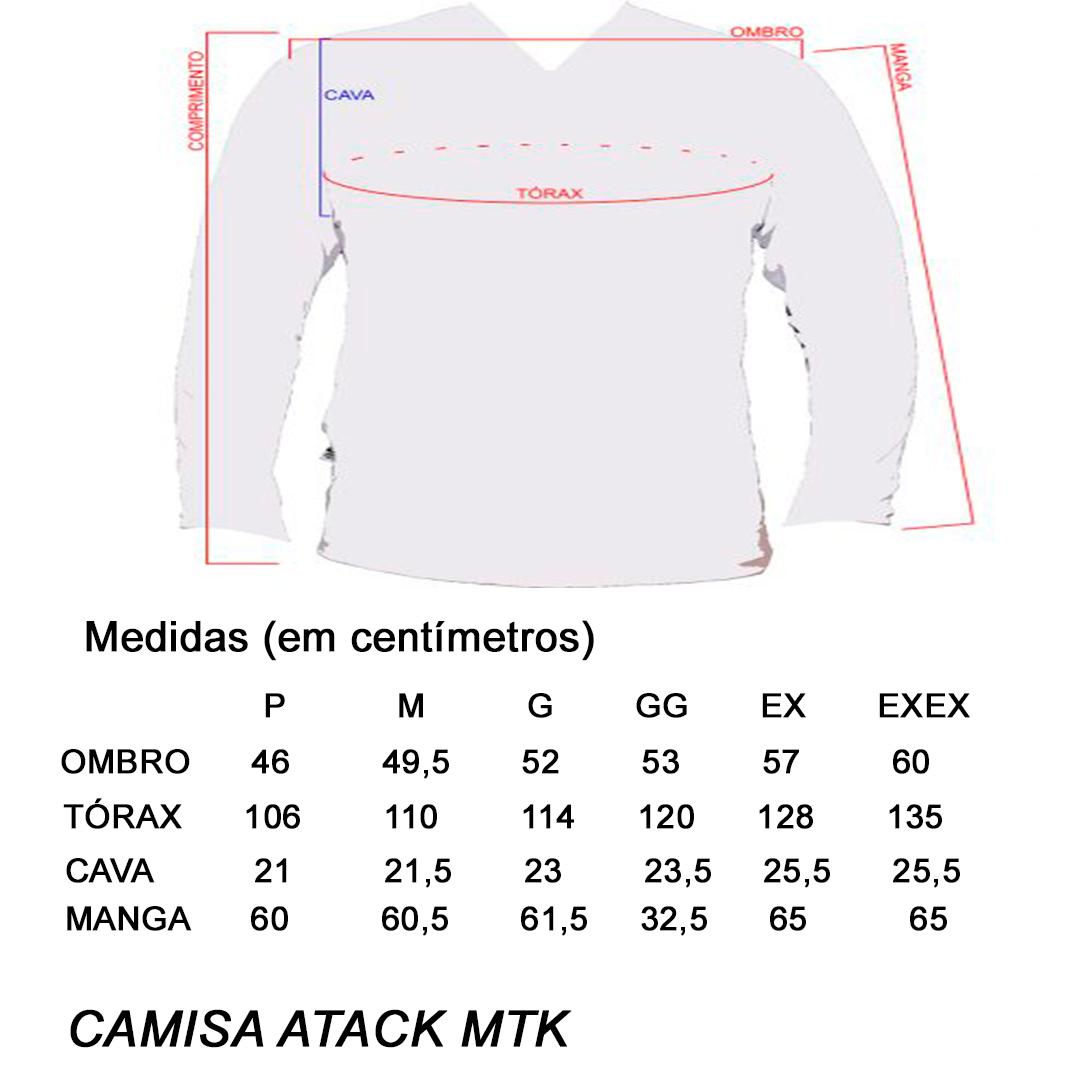 Camiseta de Pesca MTK Attack com Proteção Solar Filtro UV Cor Azul I