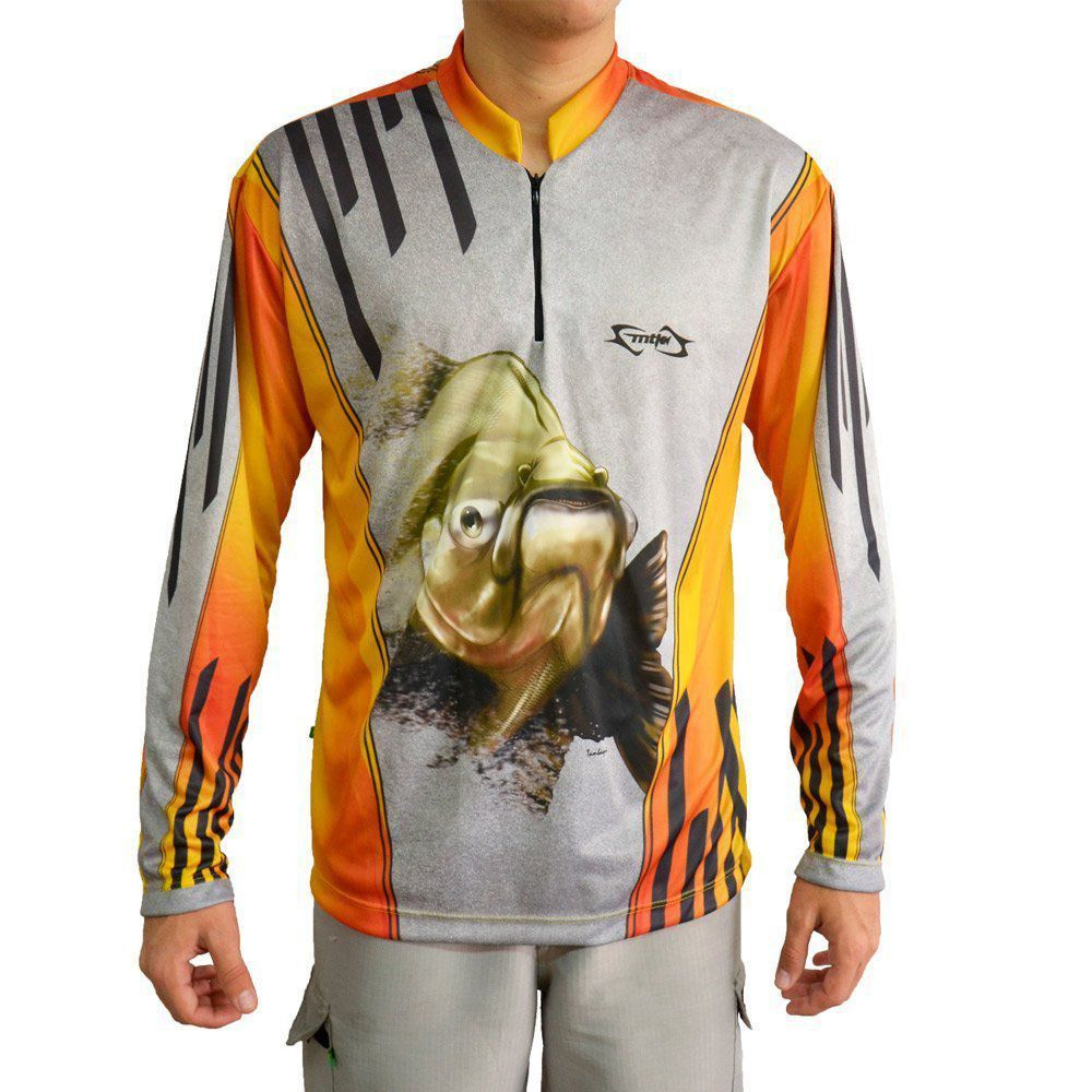 Camiseta de Pesca Mtk Attack Z com Proteção Solar Filtro UV Cor Tambaqui