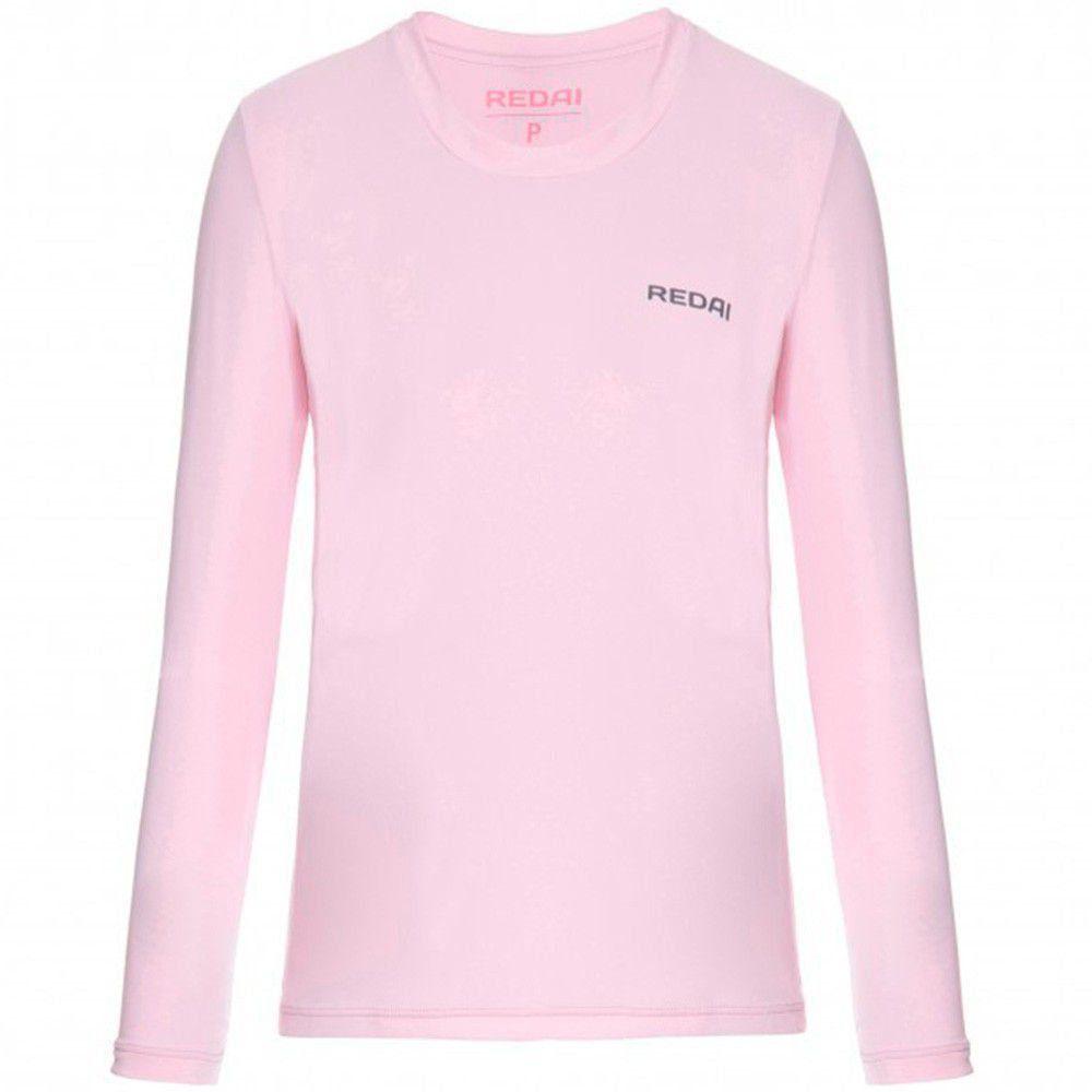 Camiseta de Pesca Redai Feminina Alta Performance cor Rosa com Proteção UV