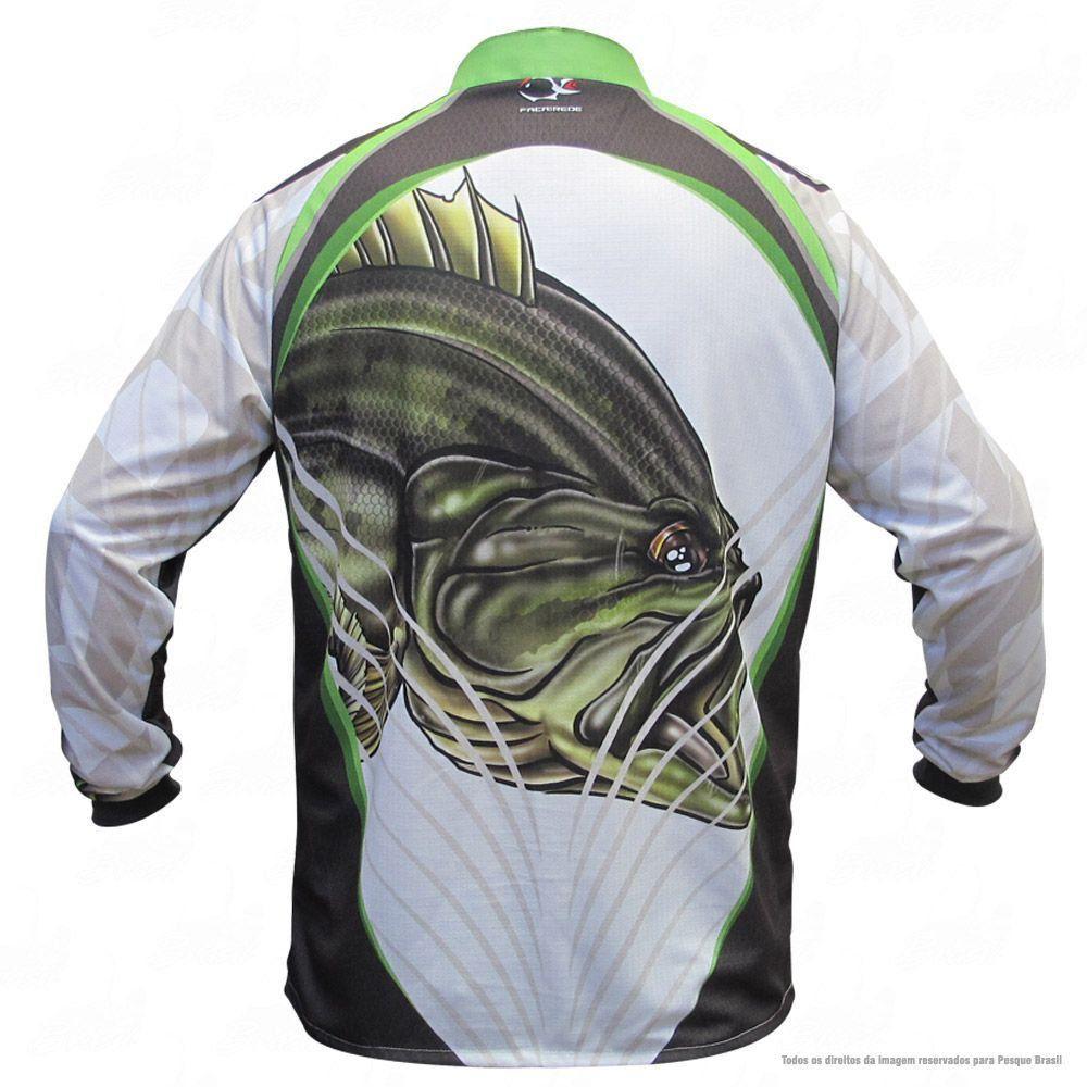 Camiseta de Pesca Shirts Black Bass Branca Faca na Rede Extreme Dry 2 com Fator de Proteção Solar UV 50 Tamanho PP