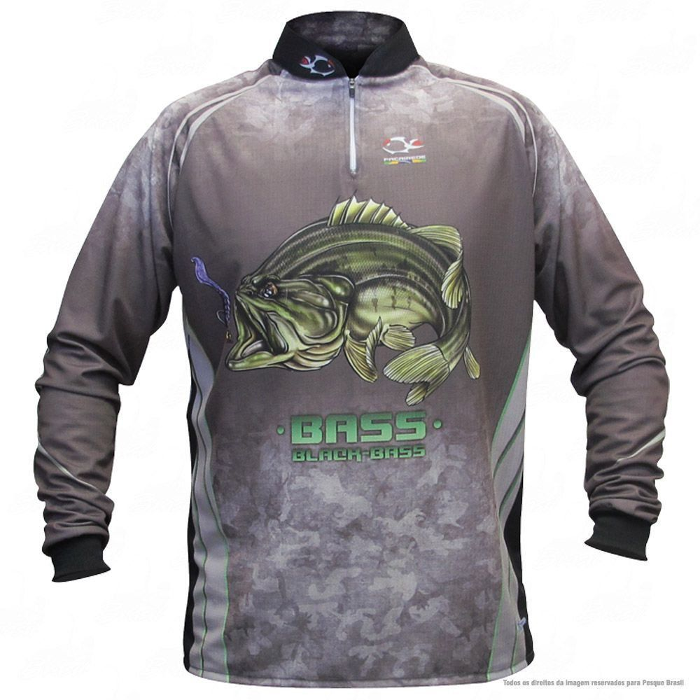 Camiseta de Pesca Shirts Black Bass Escura Faca na Rede Extreme Dry 2 com Fator de Proteção Solar UV 50 Tamanho G