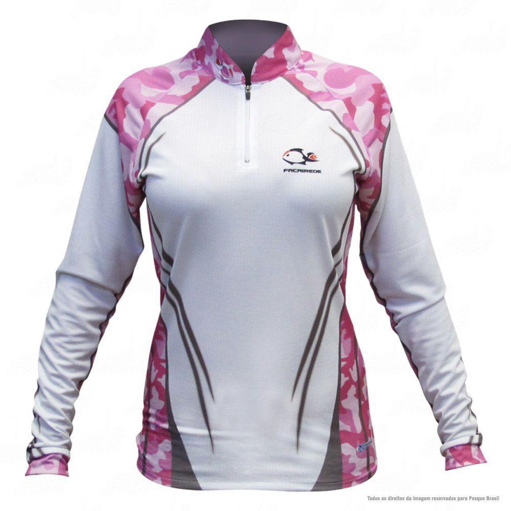 Camiseta de Pesca Shirts Branca e Rosa Feminina Faca na Rede Extreme Dry 2 com Fator de Proteção Solar UV 50 Tamanho G