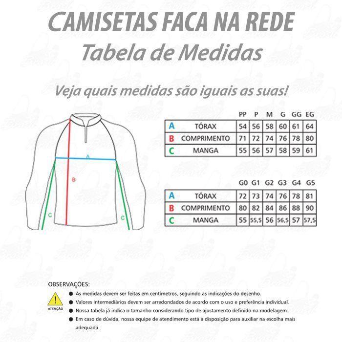 Camiseta de Pesca Shirts Faca na Rede com Texturas Extreme Dry 2 com Fator de Proteção Solar UV 50 Tamanho PP