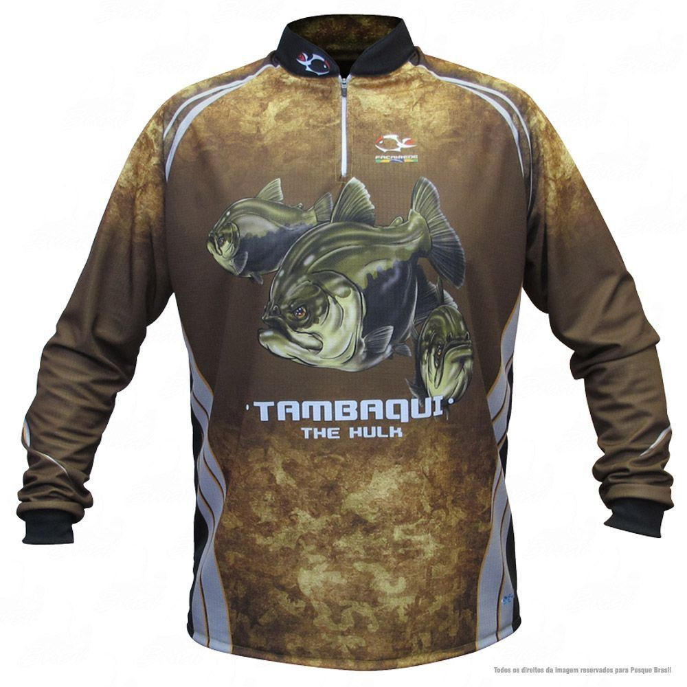 Camiseta de Pesca Shirts Tambaqui Faca na Rede Extreme Dry 2 com Fator de Proteção Solar UV 50 Tamanho M