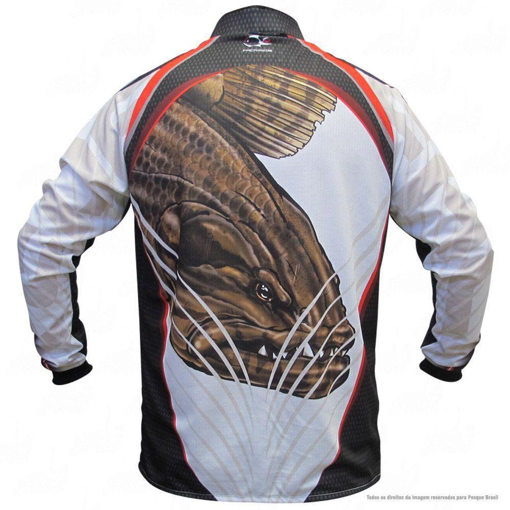Camiseta de Pesca Shirts Traíra Branca Faca na Rede Extreme Dry 2 com Fator de Proteção Solar UV 50 Tamanho G