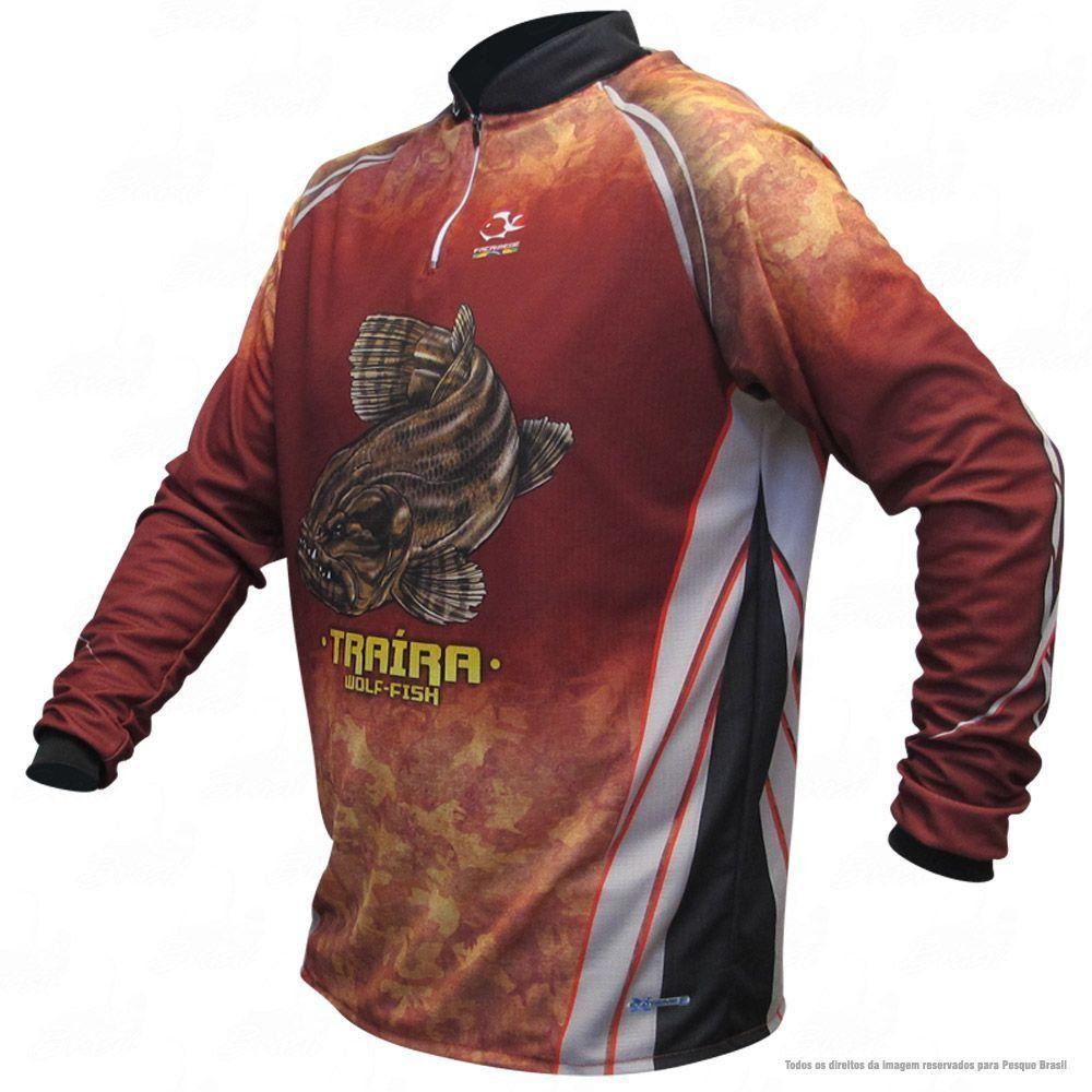 Camiseta de Pesca Shirts Traíra Escura Faca na Rede Extreme Dry 2 com Fator de Proteção Solar UV 50 Tamanho M