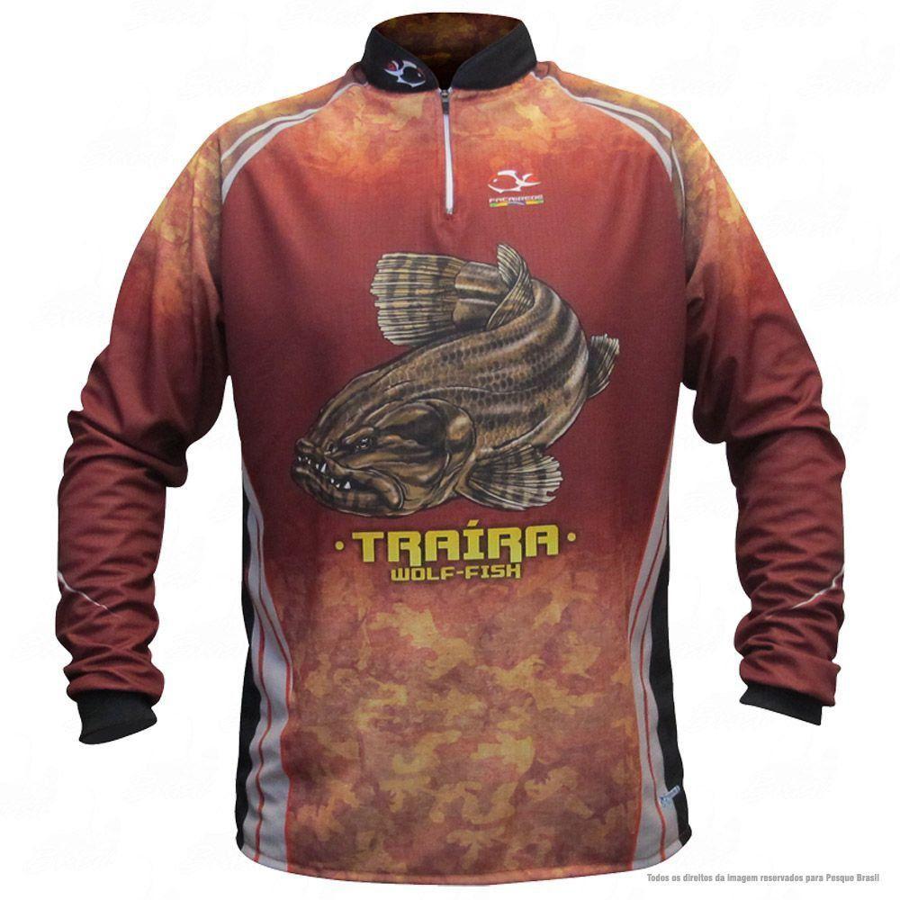 Camiseta de Pesca Shirts Traíra Escura Faca na Rede Extreme Dry 2 com Fator de Proteção Solar UV 50 Tamanho G