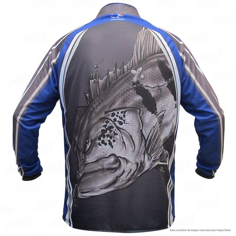Camiseta de Pesca Shirts Tucunaré Azul Faca na Rede Extreme Dry 2 com Fator de Proteção Solar UV 50 Tamanho P