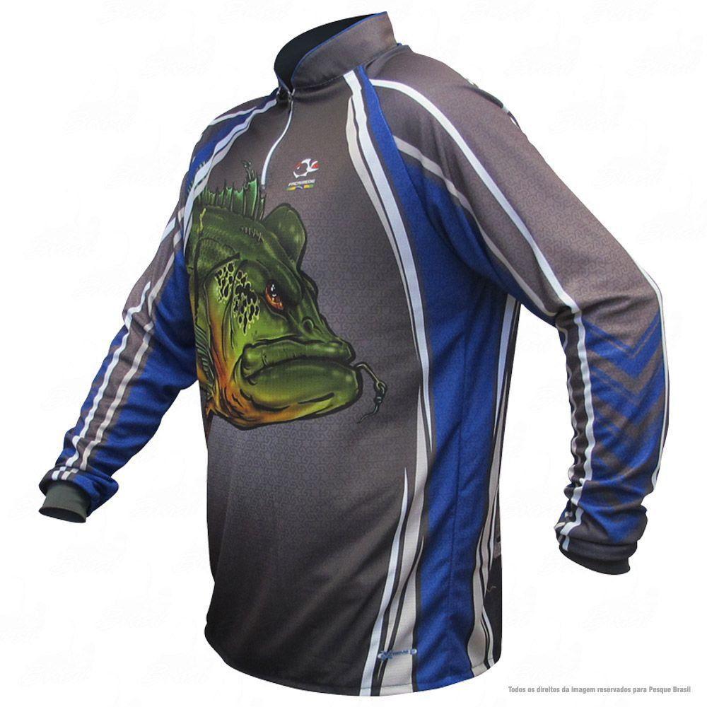 Camiseta de Pesca Shirts Tucunaré Azul Faca na Rede Extreme Dry 2 com Fator de Proteção Solar UV 50 Tamanho G