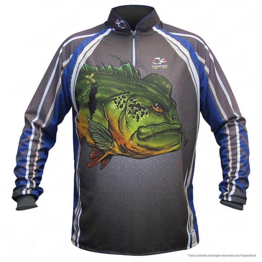 Camiseta de Pesca Shirts Tucunaré Azul Faca na Rede Extreme Dry 2 com Fator de Proteção Solar UV 50 Tamanho GG