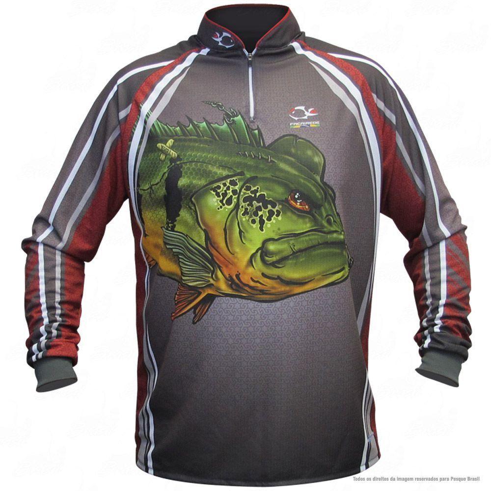 Camiseta de Pesca Shirts Tucunaré Vermelha Faca na Rede Extreme Dry 2 com Fator de Proteção Solar UV 50 Tamanho G