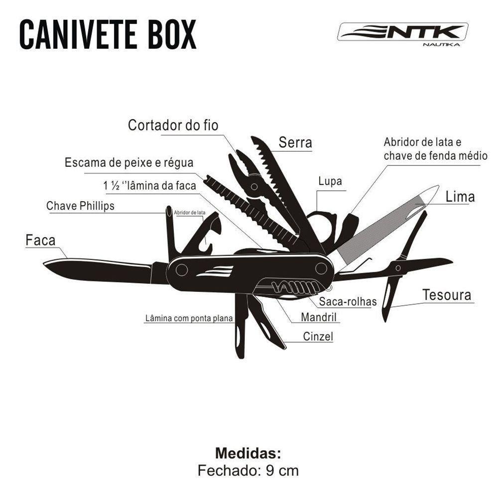 Canivete Box Nautika 18 funções com Bainha e Garantia