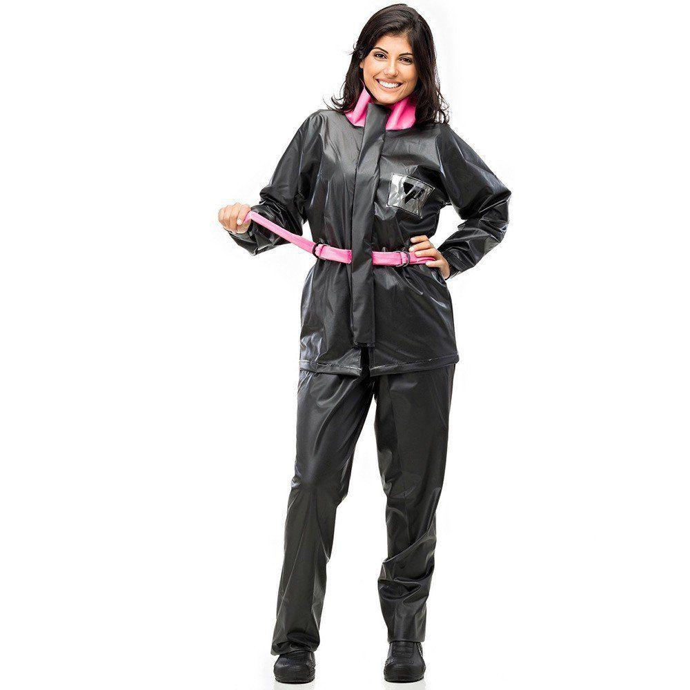 Capa de Chuva em PVC Pantaneiro Modelo 3001 Feminino Tornado com Capuz Cor Preto Rosa Pink