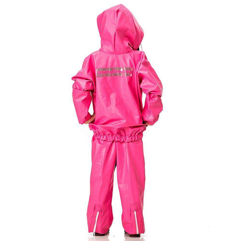 Capa de Chuva Infantil em PVC Pantaneiro com Capuz Cor Rosa Pink