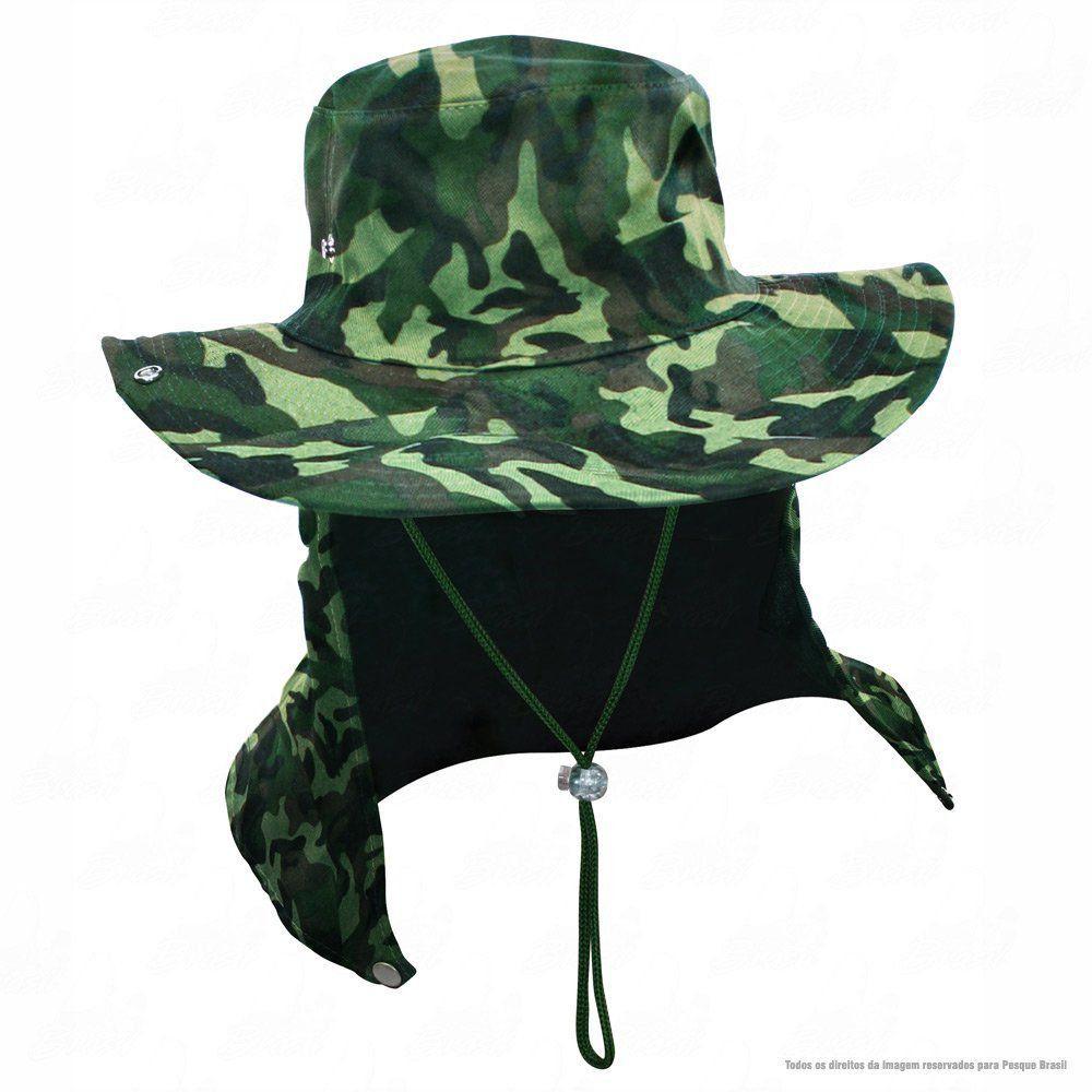 Chapéu de Pesca Safari Jogá com Protetor Solar Nucal E Cinta Fixadora de  Pescoço Cor Camuflado 50c8a5423a3