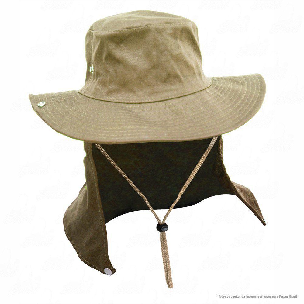 Chapéu de Pesca Safari Jogá com Protetor Solar Nucal E Cinta Fixadora de Pescoço Cor Caqui