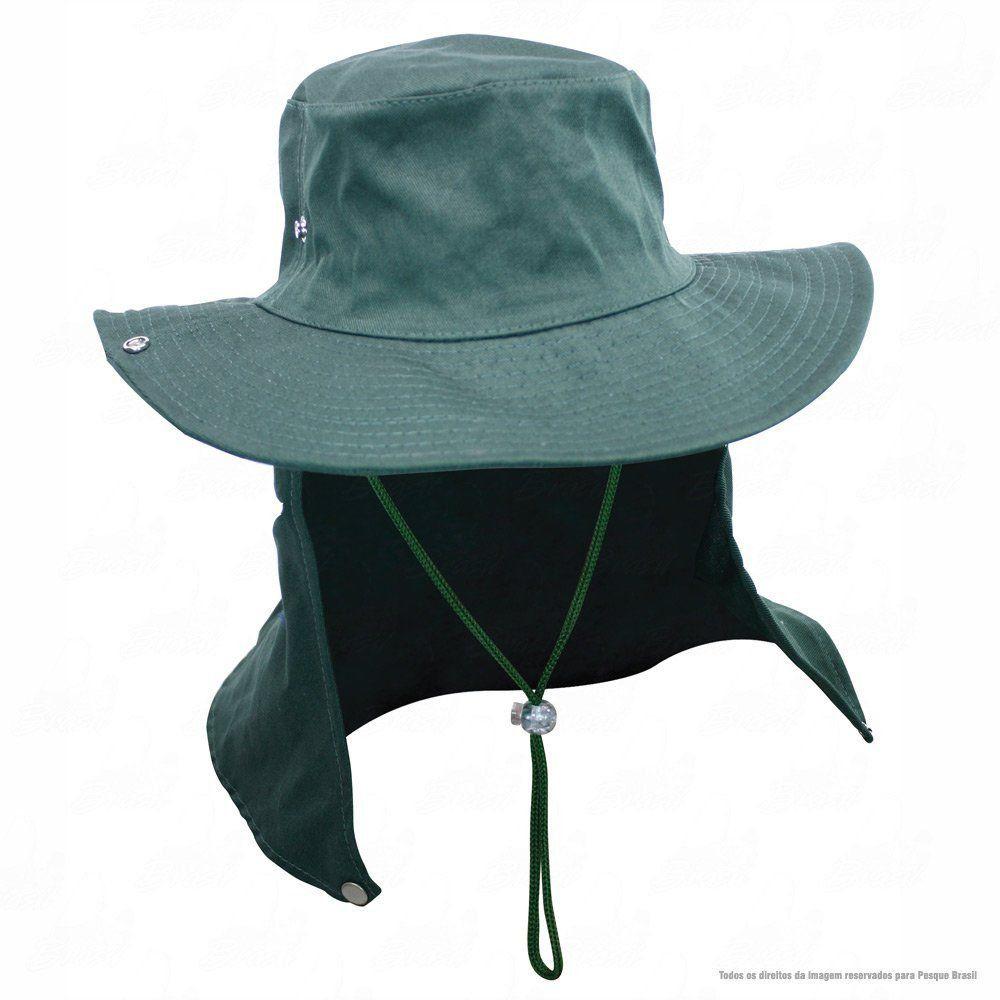 Chapéu de Pesca Safari Jogá com Protetor Solar Nucal E Cinta Fixadora de Pescoço Cor Verde