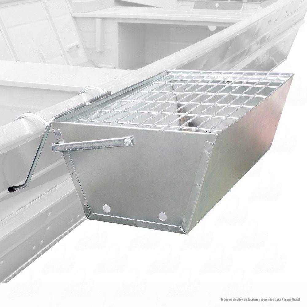 Churrasqueira Portátil para Barco Jogá em Aço Galvanizado com Grelha