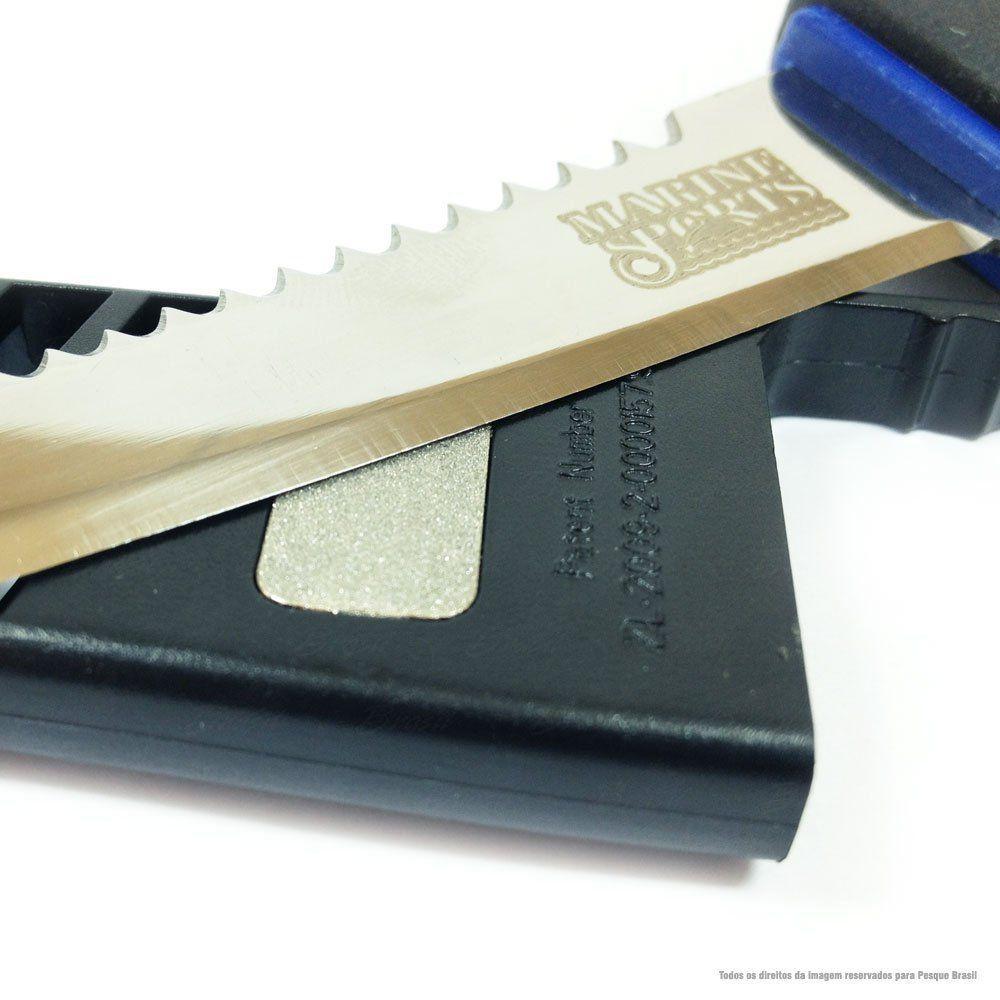 Faca Filetadeira Marine Sports 4 Fillet Knife MS-FK05G Com Afiador, Bainha e Lamina Serrilhada