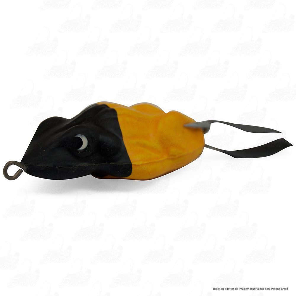 Isca Artificial Bad Frog Bad Line de Borracha com Anti Enrosco Cor BF02 Amarelo Cabeça Preta