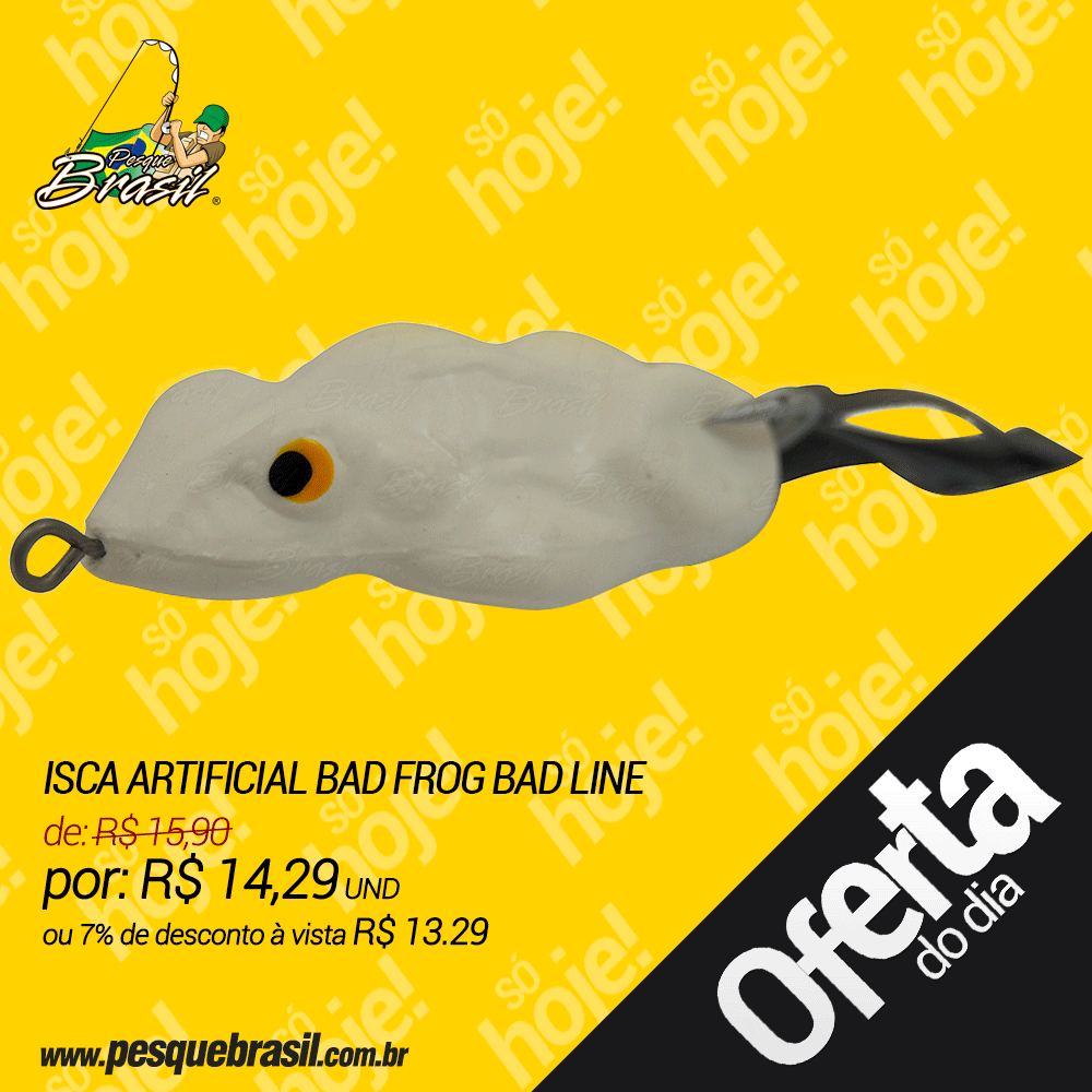 Isca Artificial Bad Frog Bad Line de Borracha com Anti Enrosco Cor BF04 Branco