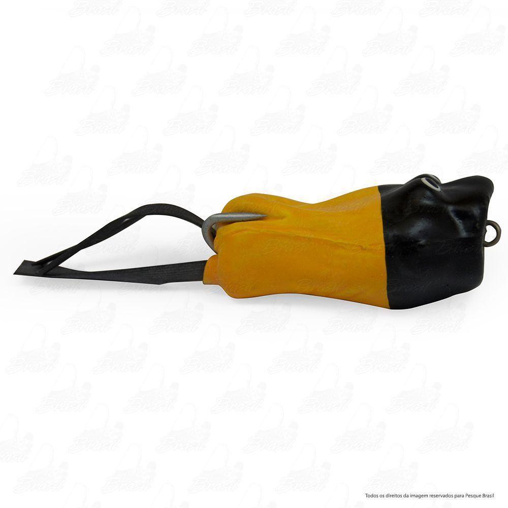 Isca Artificial Bad Popper Bad Line de Borracha com Anti Enrosco Cor BP02 Amarelo Cabeça Preta