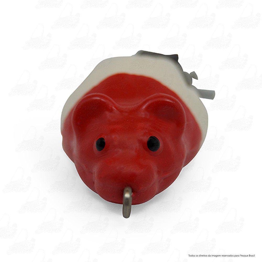 Isca Artificial Bad Rat Bad Line de Borracha com Anti Enrosco Cor BR01 Branco com Cabeça Vermelha